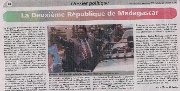Dossier politique dans Midi Madagasikara