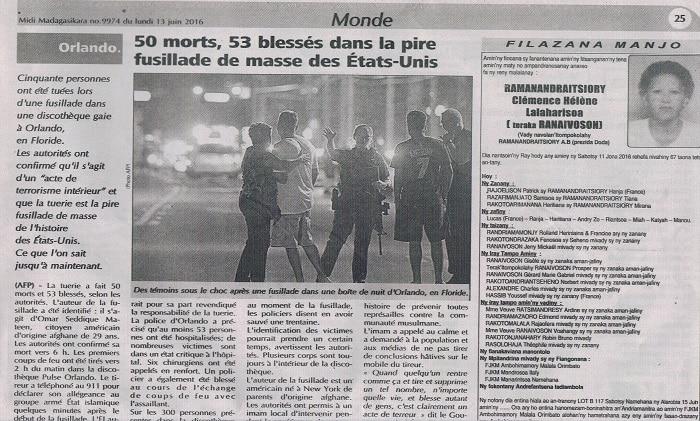 Midi Madagasikara, Monde