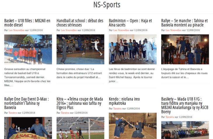 Rubrique Sports sur Newsmada