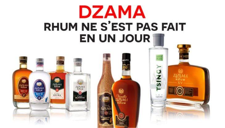 Publicité pour la gamme de rhums Dzama compagnie vidzar