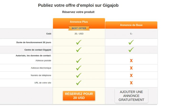 Publication gratuite ou payante sur Gigajob