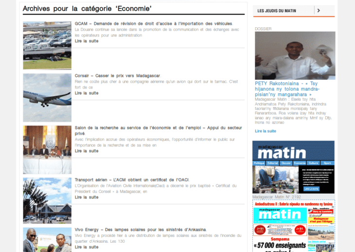 Madagascar Matin économie site web
