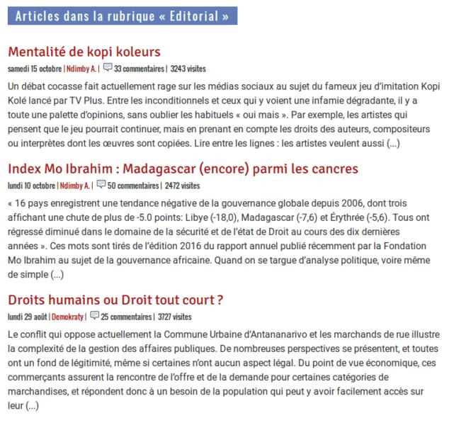 Madagascar Tribune éditoriaux